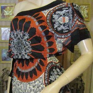 Body Central Black, Orange & Gray Top size S